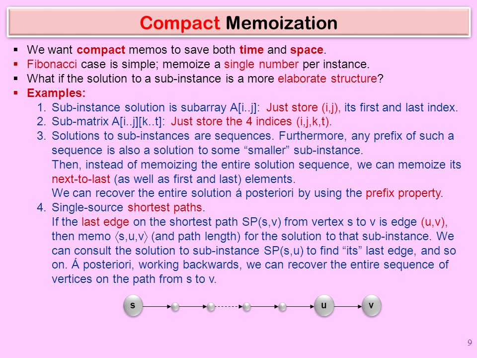 Compact Memoization We want compact memos to save both time and space.