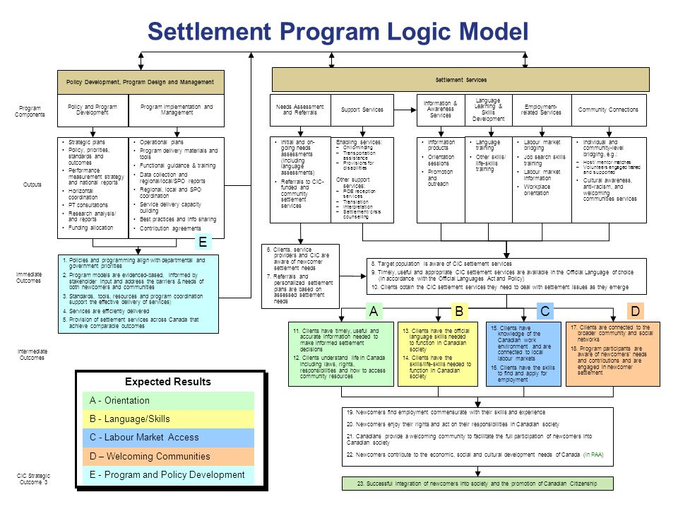 Settlement Program Logic Model