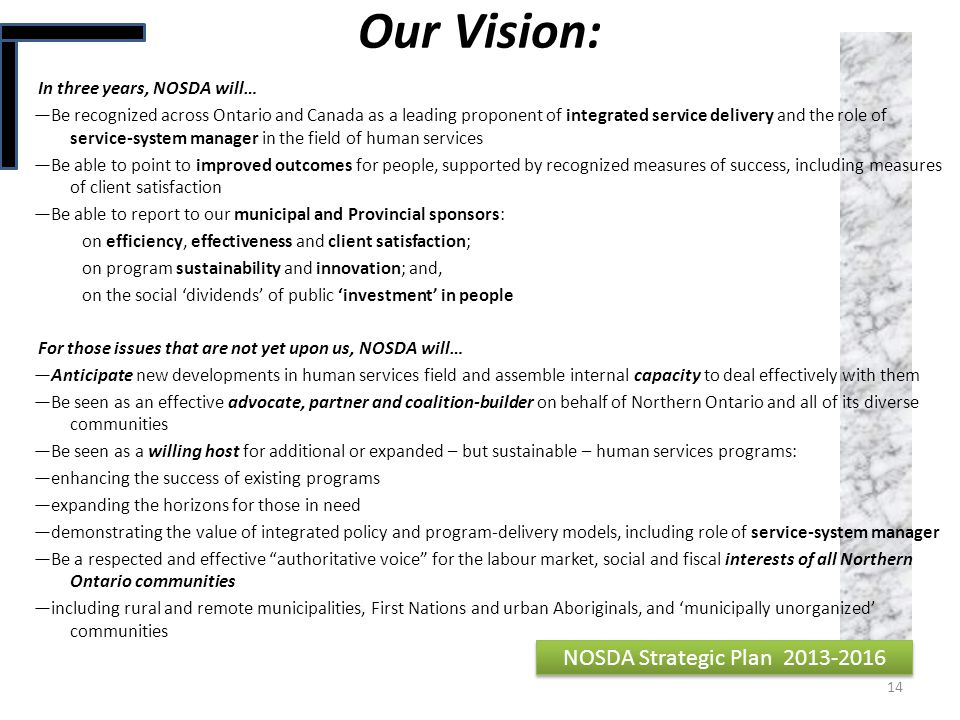 Our Vision: NOSDA Strategic Plan 2013-2016