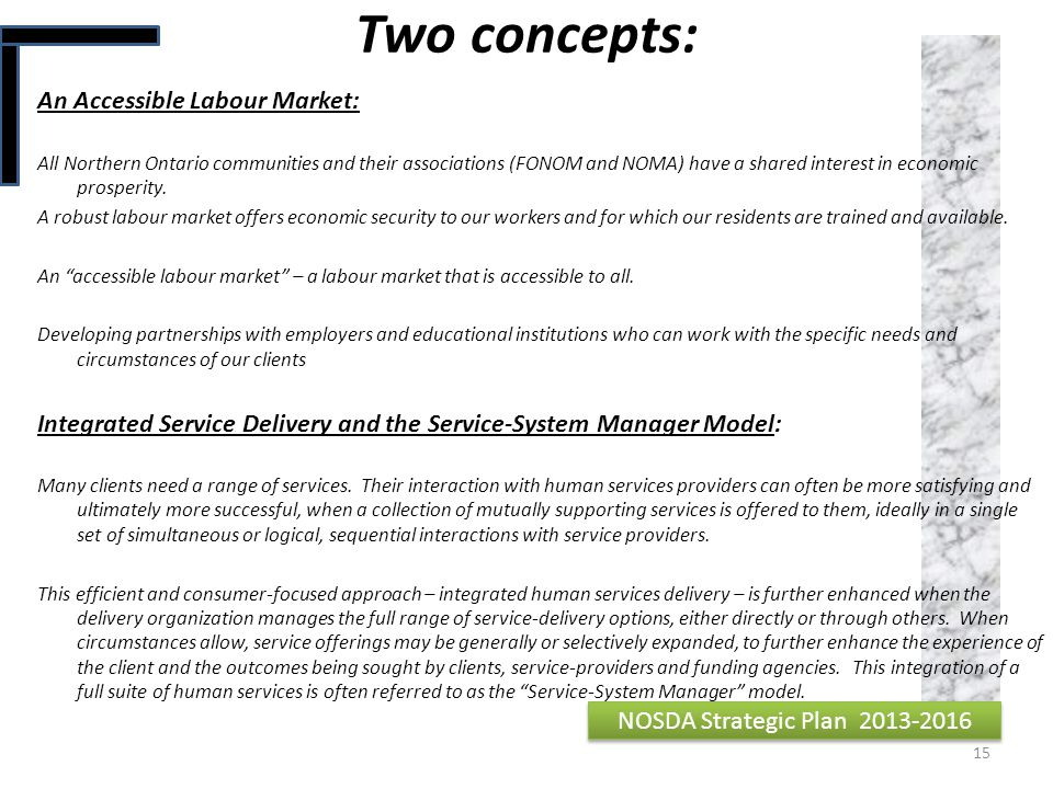 Two concepts: An Accessible Labour Market: