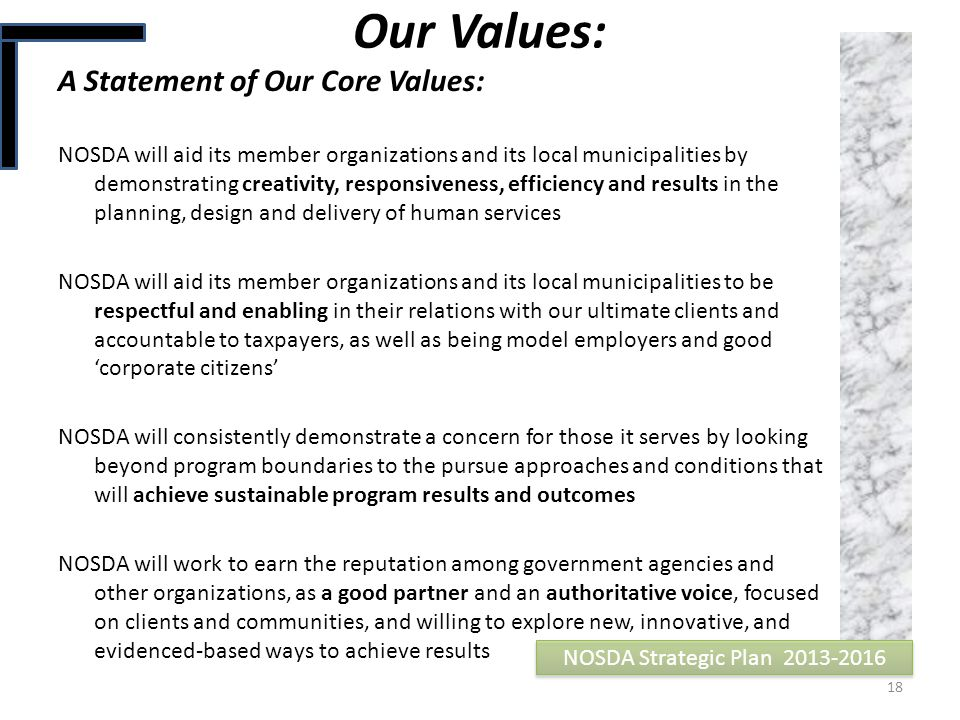 Our Values: A Statement of Our Core Values: