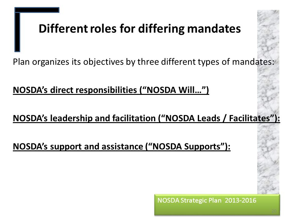 Different roles for differing mandates