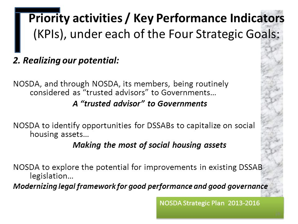 Priority activities / Key Performance Indicators (KPIs), under each of the Four Strategic Goals: