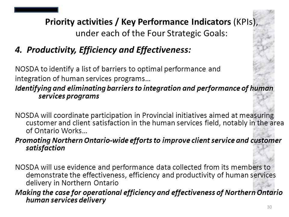 4. Productivity, Efficiency and Effectiveness: