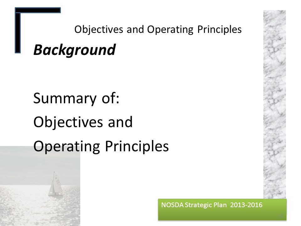 Objectives and Operating Principles