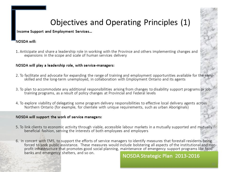 Objectives and Operating Principles (1)