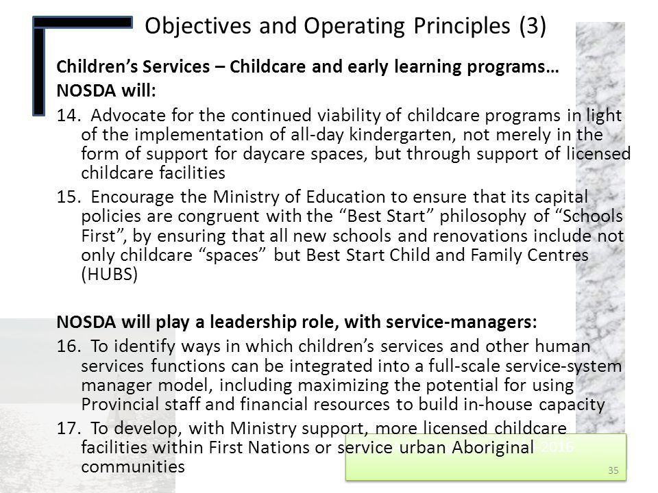 Objectives and Operating Principles (3)