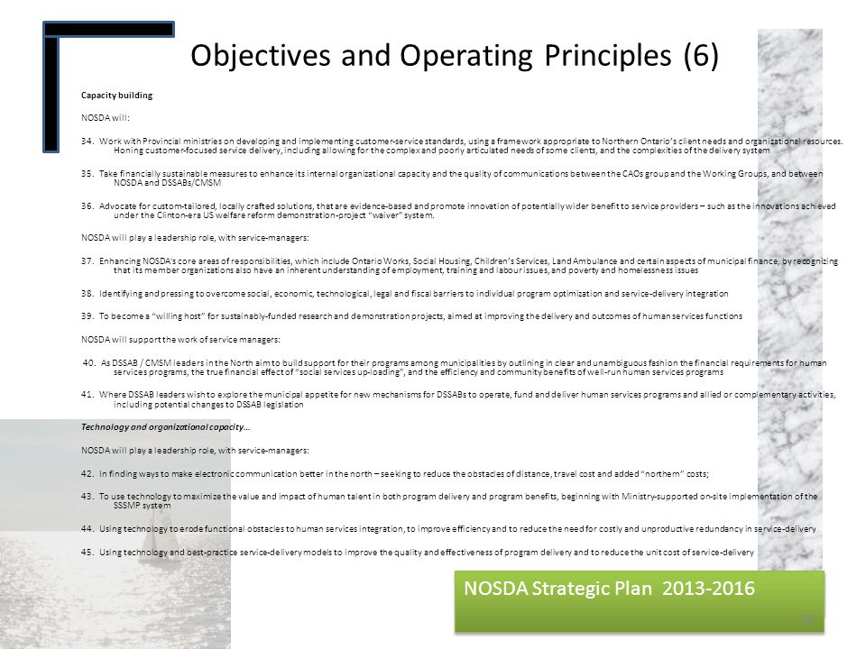 Objectives and Operating Principles (6)