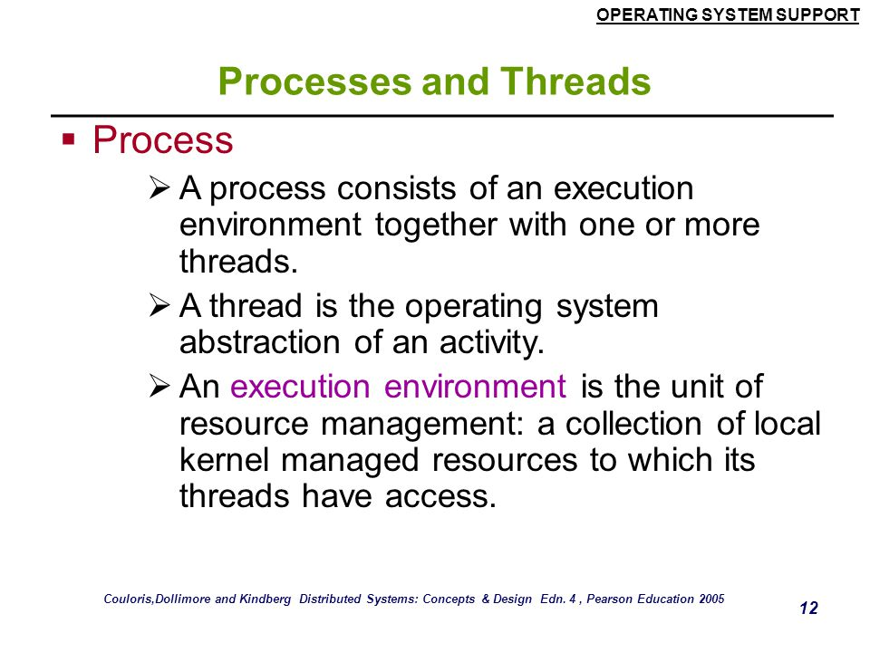 Processes and Threads Process