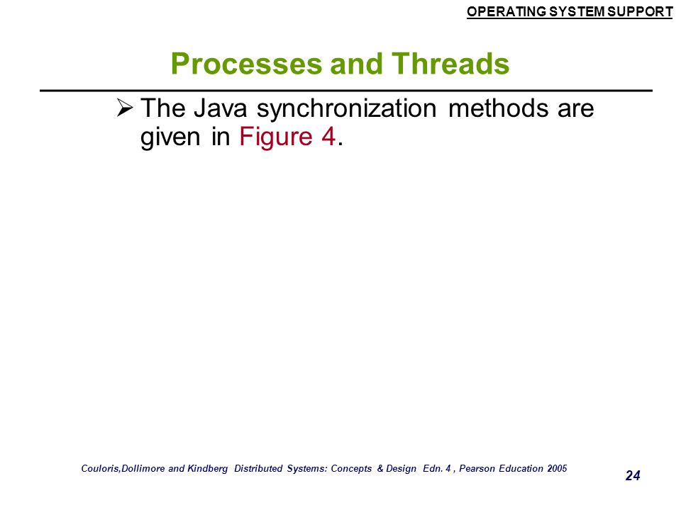 Processes and Threads The Java synchronization methods are given in Figure 4.