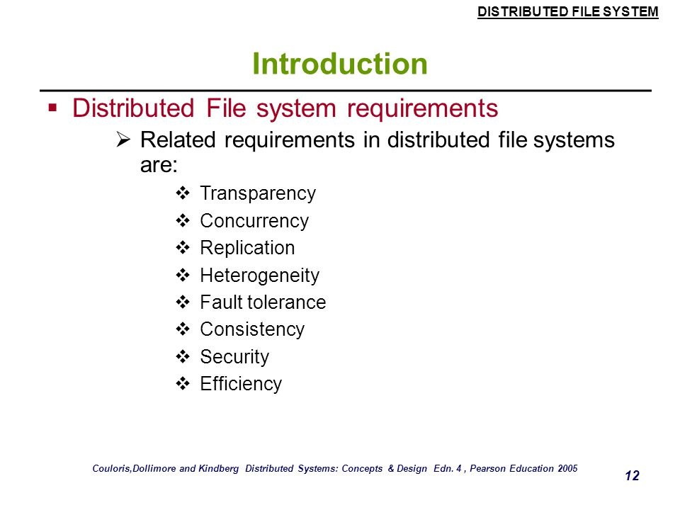 Introduction Distributed File system requirements
