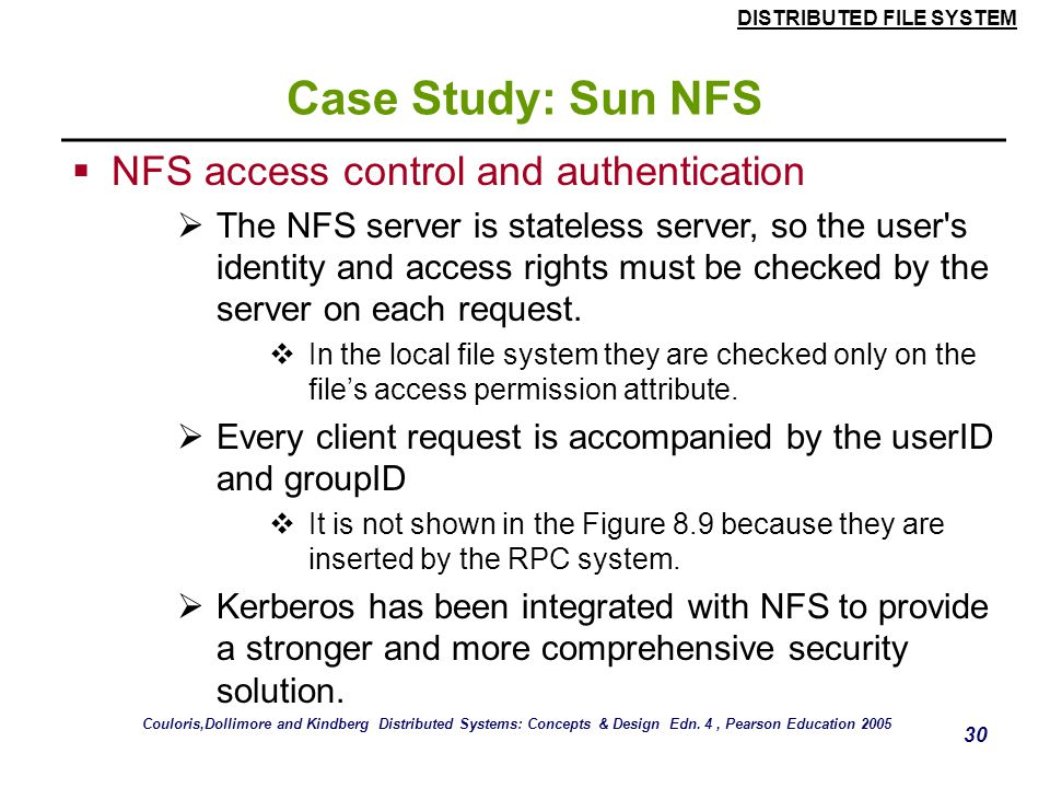 Case Study: Sun NFS NFS access control and authentication