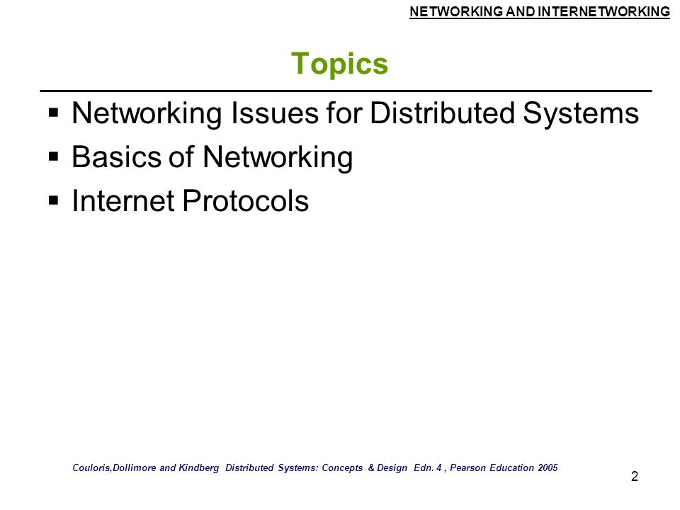 Networking Issues for Distributed Systems Basics of Networking