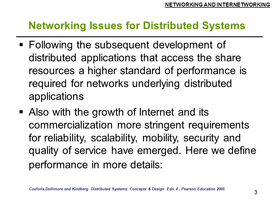 Networking Issues for Distributed Systems