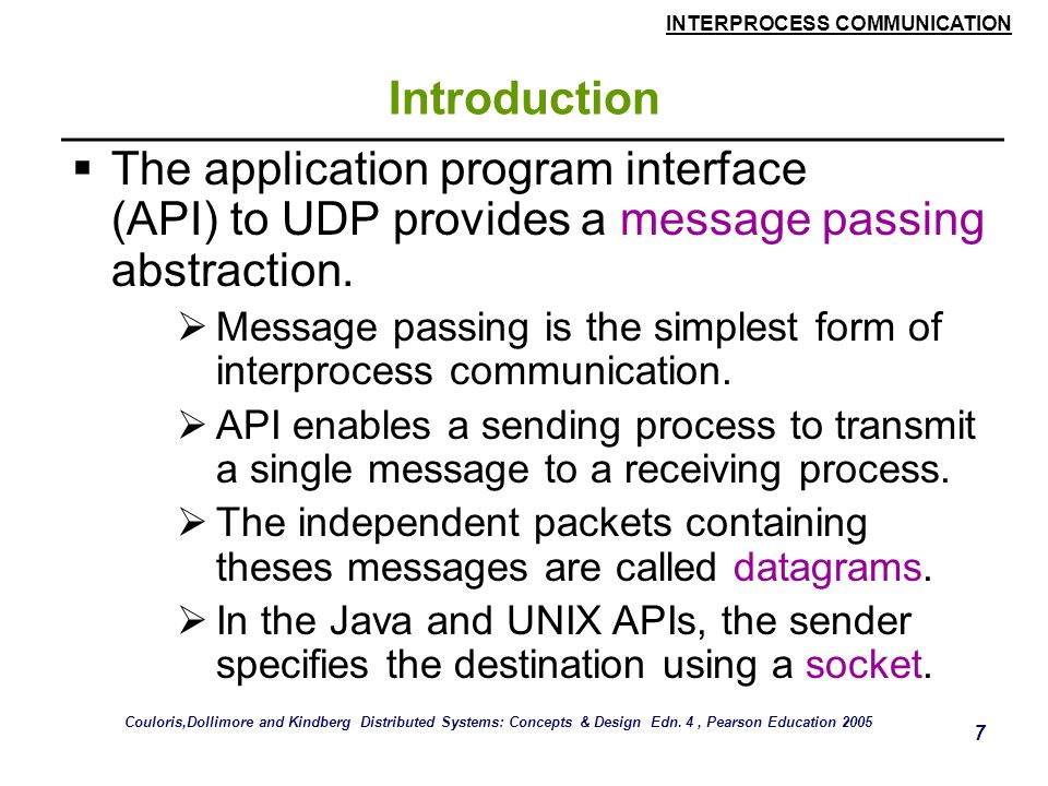 Introduction The application program interface (API) to UDP provides a message passing abstraction.