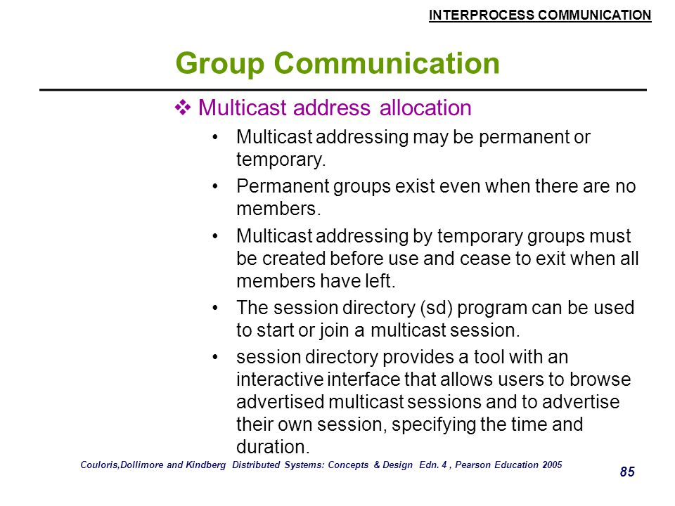 Group Communication Multicast address allocation