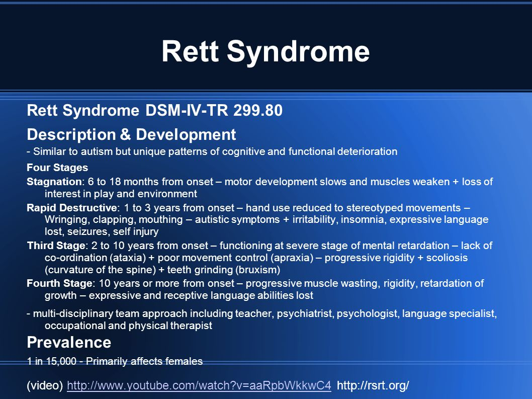 Rett Syndrome Rett Syndrome DSM-IV-TR Description & Development