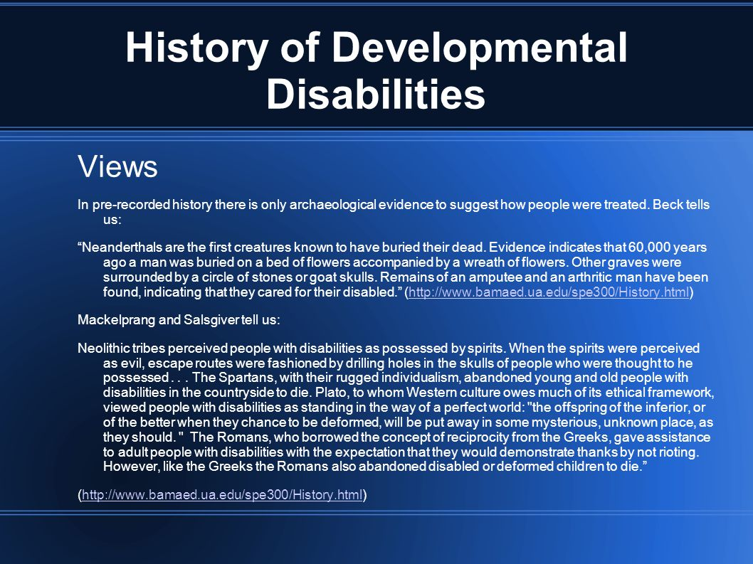 History of Developmental Disabilities