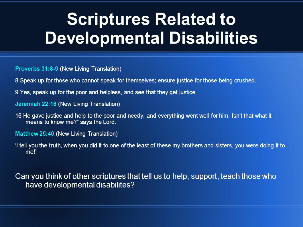 Scriptures Related to Developmental Disabilities
