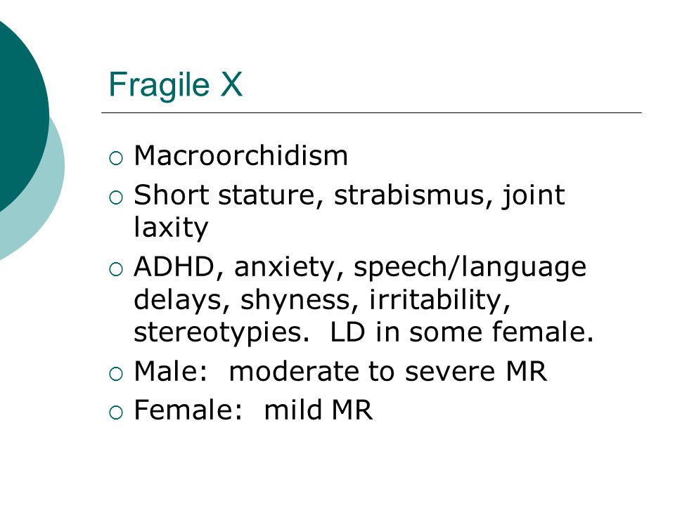 Fragile X Macroorchidism Short stature, strabismus, joint laxity