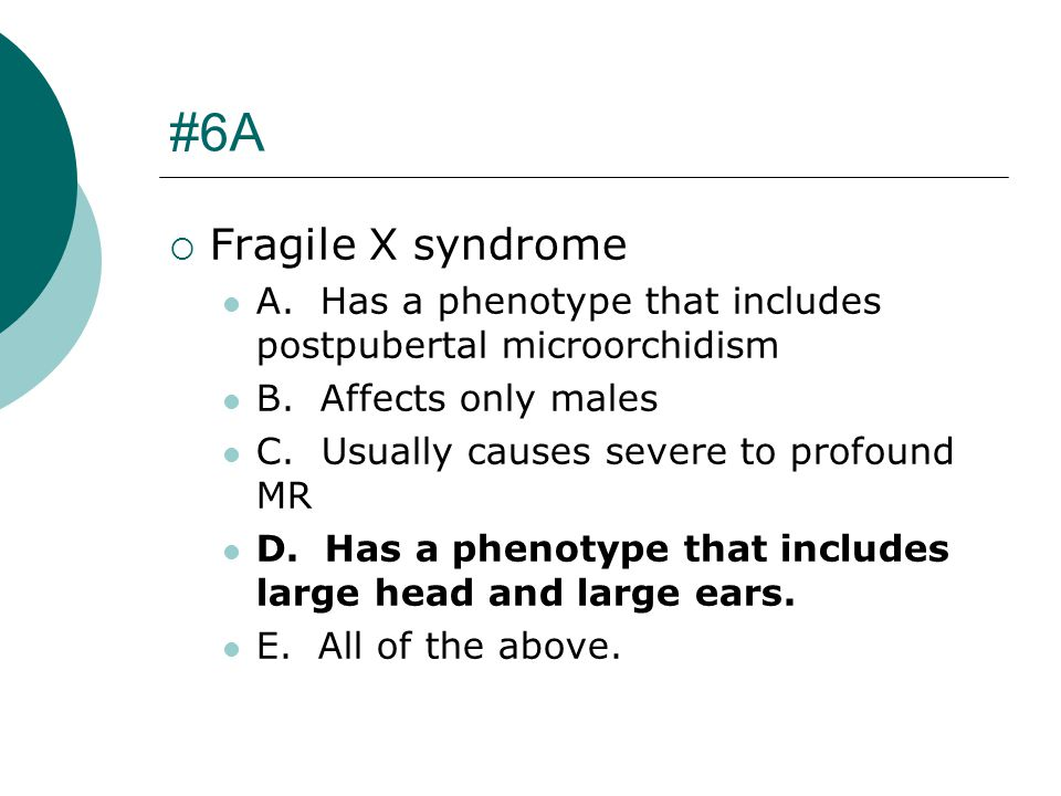 #6A Fragile X syndrome. A. Has a phenotype that includes postpubertal microorchidism. B. Affects only males.