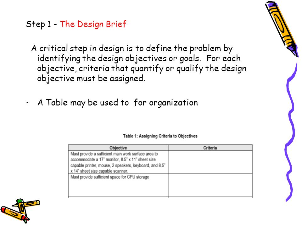 Step 1 - The Design Brief
