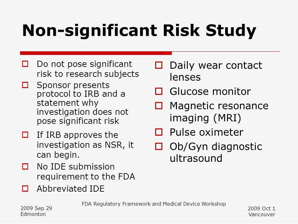 Non-significant Risk Study