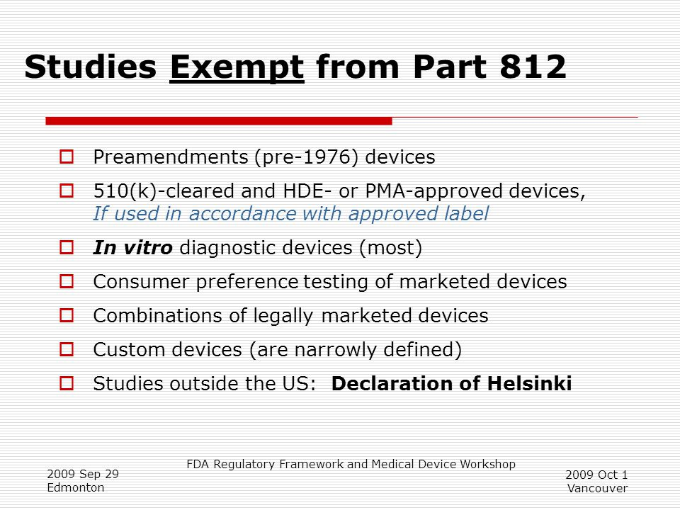 Studies Exempt from Part 812