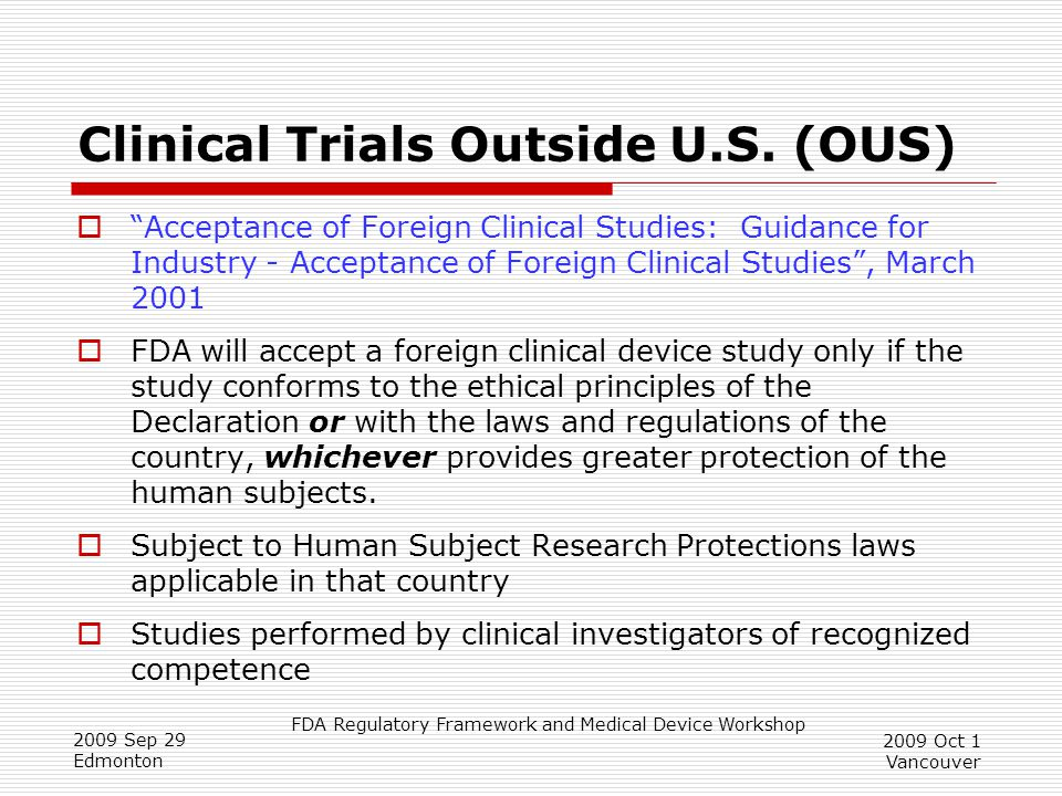 Clinical Trials Outside U.S. (OUS)
