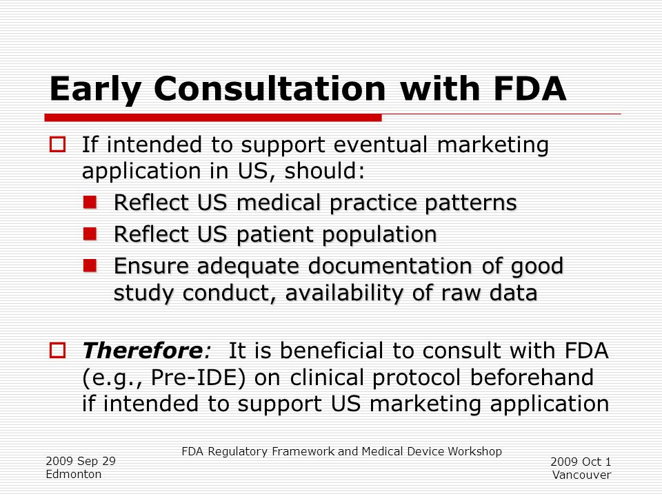 Early Consultation with FDA