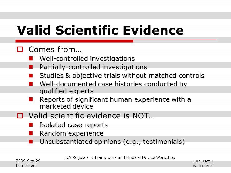 Valid Scientific Evidence