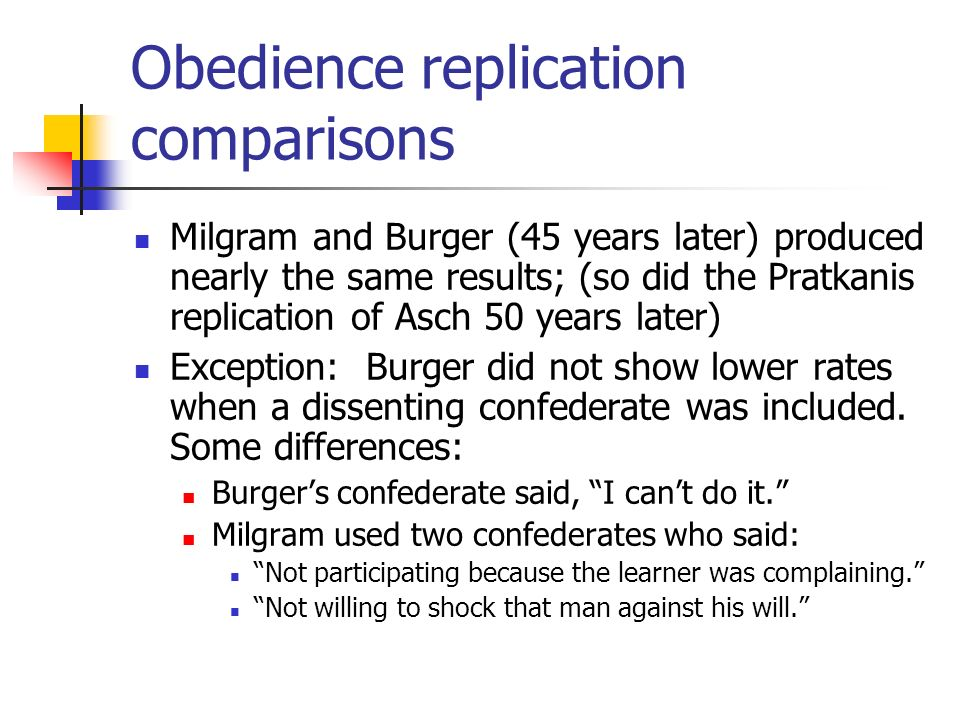 Obedience replication comparisons