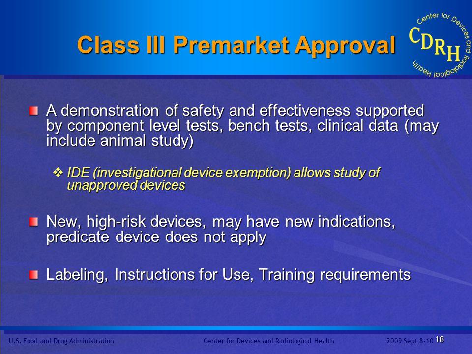 Class III Premarket Approval