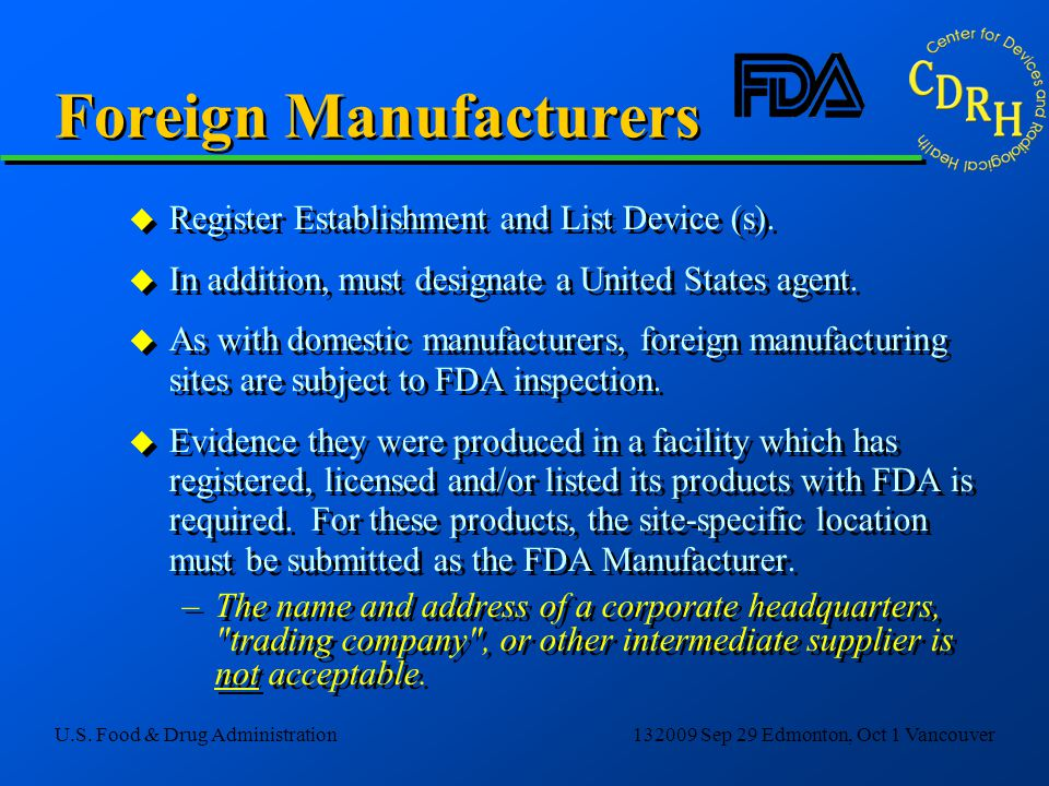 Foreign Manufacturers