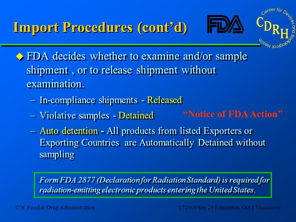 Import Procedures (cont'd)