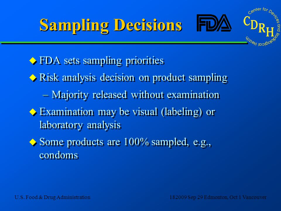 Sampling Decisions FDA sets sampling priorities