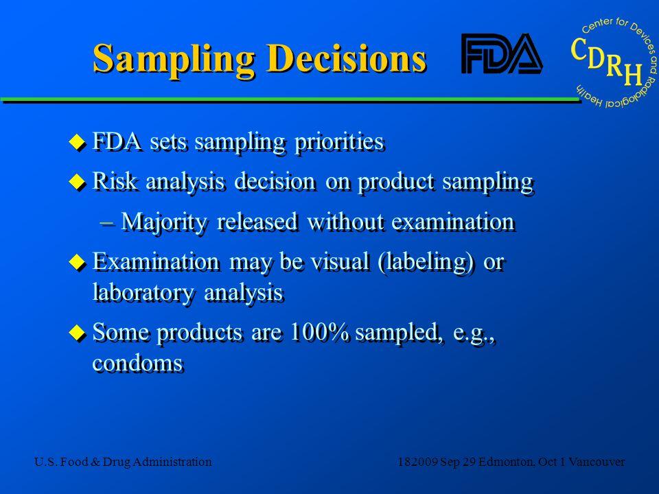 Sampling Decisions FDA sets sampling priorities