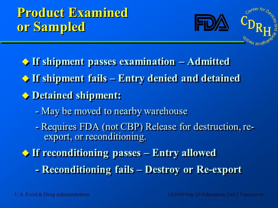 Product Examined or Sampled