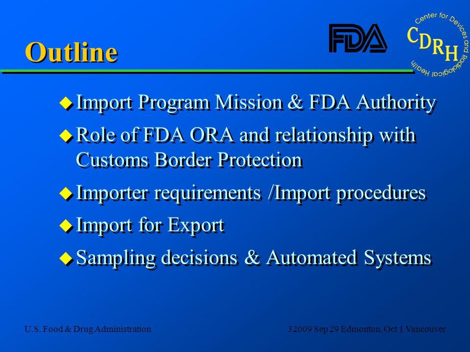 Outline Import Program Mission & FDA Authority