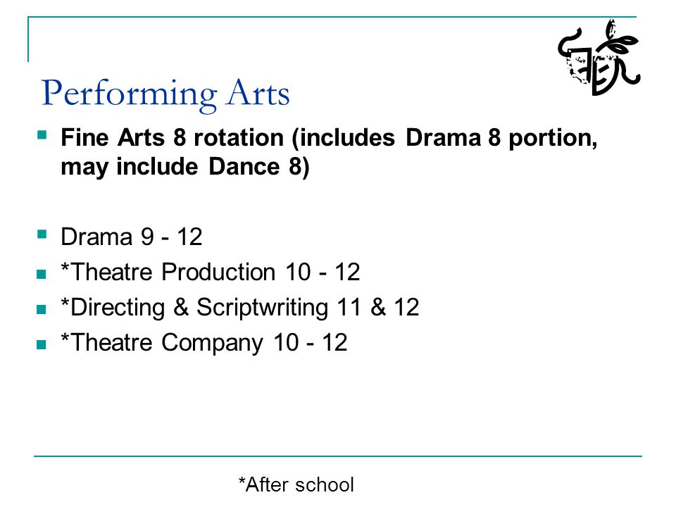 Performing Arts Fine Arts 8 rotation (includes Drama 8 portion, may include Dance 8) Drama 9 - 12.
