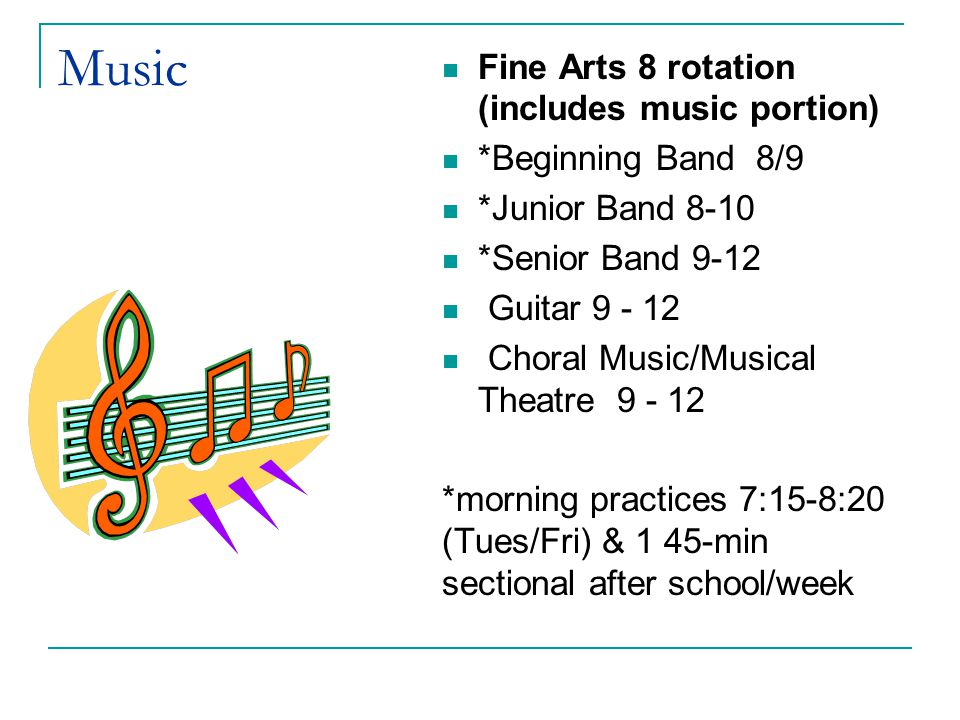 Music Fine Arts 8 rotation (includes music portion)