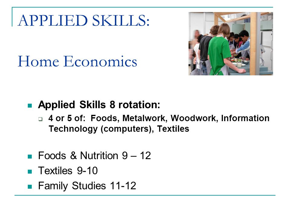 APPLIED SKILLS: Home Economics