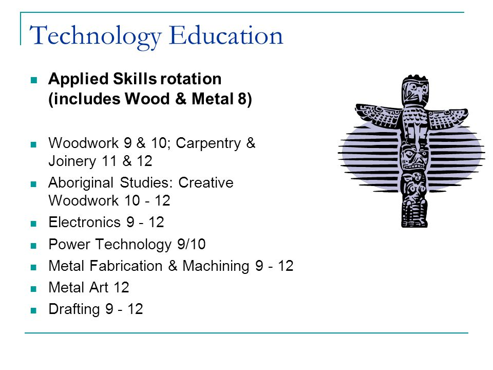 Technology Education Applied Skills rotation (includes Wood & Metal 8)