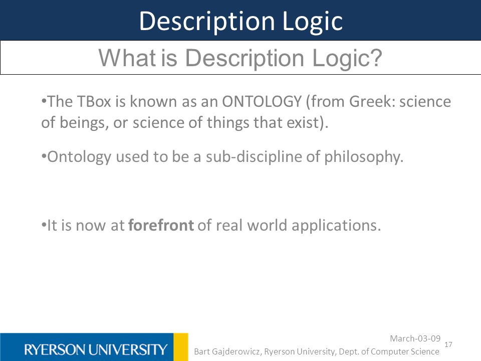 Description Logic What is Description Logic
