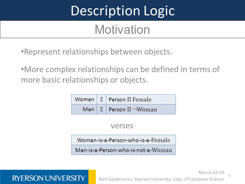 Description Logic Motivation Represent relationships between objects.