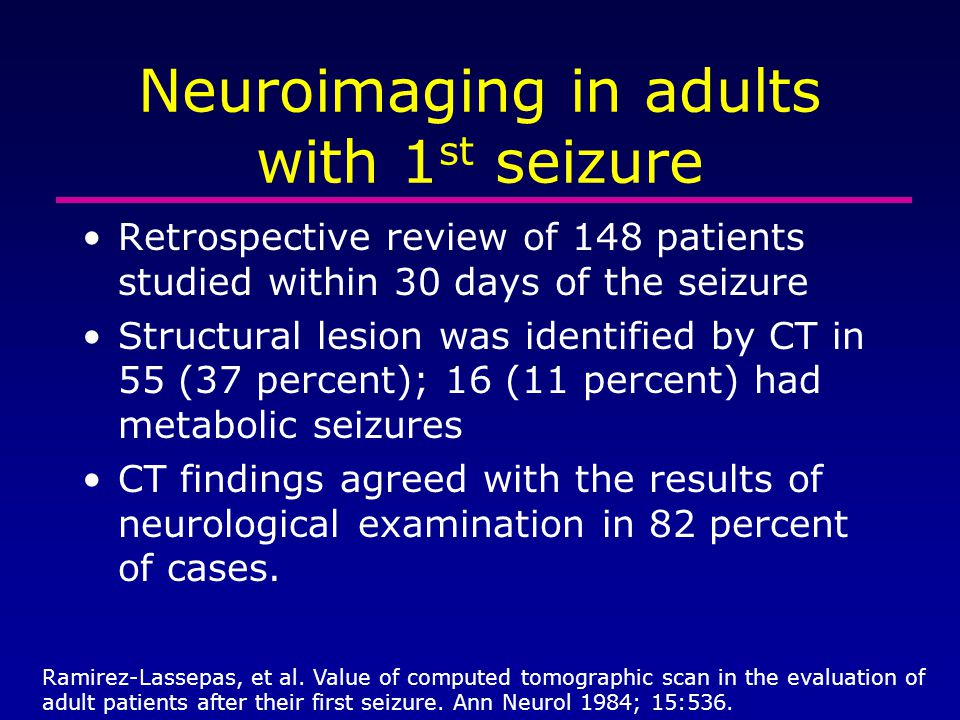 Neuroimaging in adults with 1st seizure