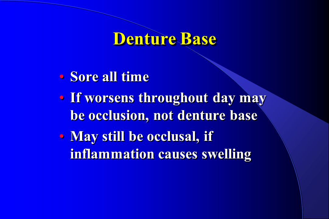 Denture Base Sore all time