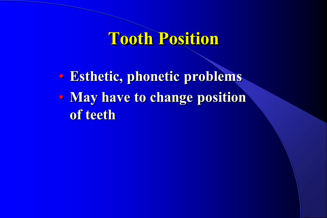 Tooth Position Esthetic, phonetic problems