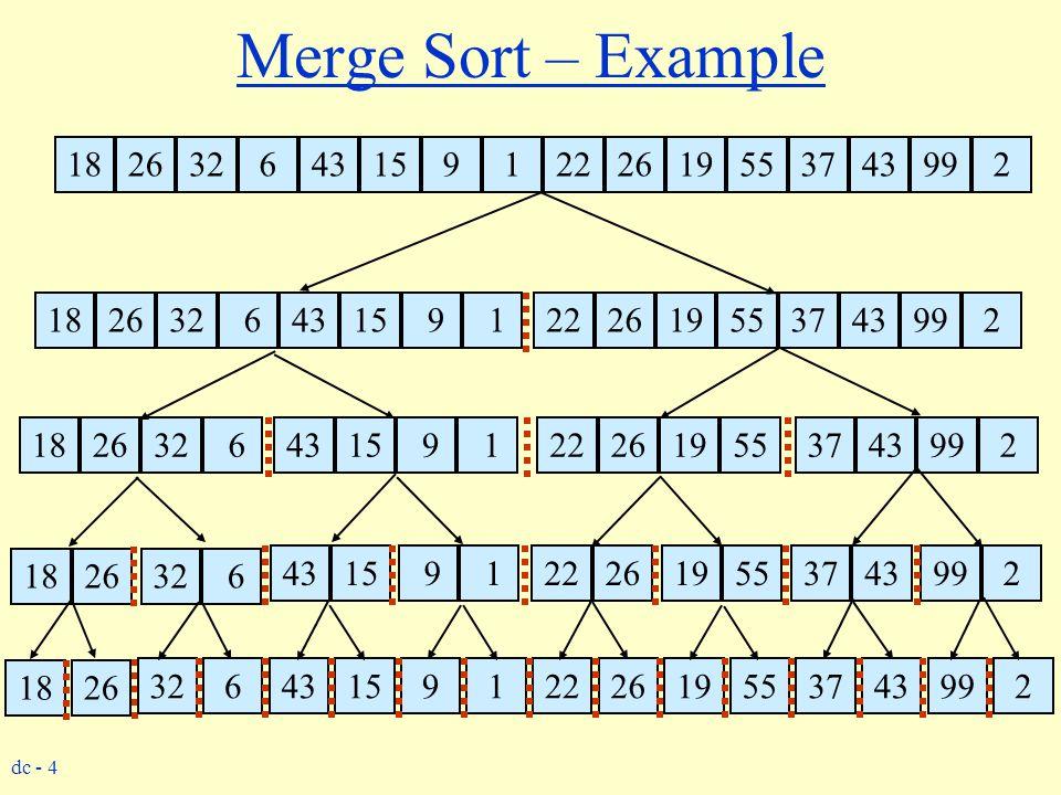 Merge Sort – Example 18. 26. 32. 6. 43. 15. 9. 1. 22. 26. 19. 55. 37. 43. 99. 2. 18.