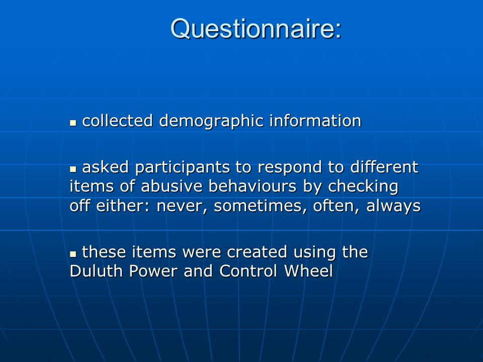 Questionnaire: collected demographic information